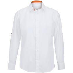 Abbigliamento Uomo Camicie maniche lunghe Alexandra Hospitality Bianco/Arancione
