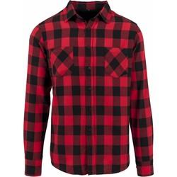 Abbigliamento Uomo Camicie maniche lunghe Build Your Brand BY031 Nero/Rosso