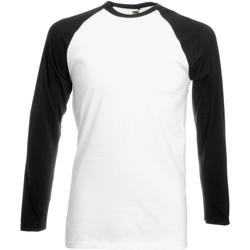 Abbigliamento Uomo T-shirts a maniche lunghe Fruit Of The Loom 61028 Bianco/Nero