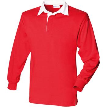 Abbigliamento Uomo Polo maniche lunghe Front Row FR100 Rosso/Bianco