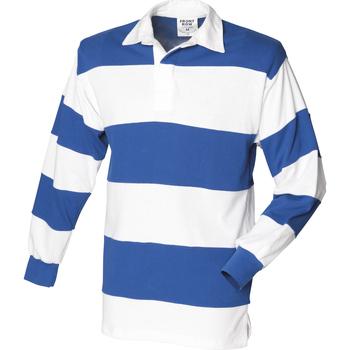 Abbigliamento Uomo Polo maniche lunghe Front Row FR08M Bianco/Blu reale
