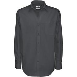 Abbigliamento Uomo Camicie maniche lunghe B And C SMT81 Grigio scuro