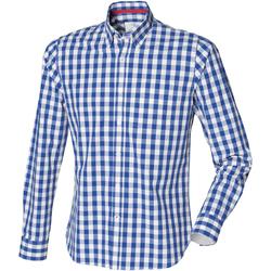 Abbigliamento Uomo Camicie maniche lunghe Front Row FR500 Blu scacchi