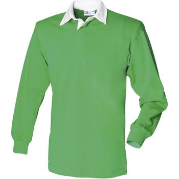 Abbigliamento Uomo Polo maniche lunghe Front Row FR100 Verde acceso/Bianco