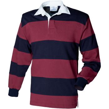 Abbigliamento Uomo Polo maniche lunghe Front Row FR08M Bordeaux/Blu navy