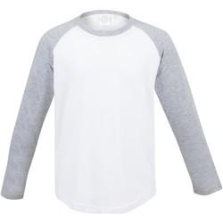 Abbigliamento Unisex bambino T-shirts a maniche lunghe Skinni Fit SM271 Bianco/ Grigio Erica