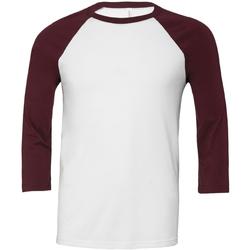 Abbigliamento Uomo T-shirts a maniche lunghe Bella + Canvas CA3200 Bianco/Rosso granata
