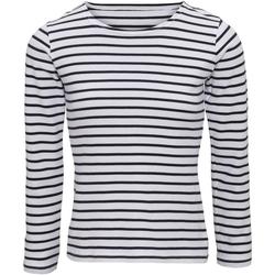 Abbigliamento Donna T-shirts a maniche lunghe Asquith & Fox AQ071 Bianco/Blu navy