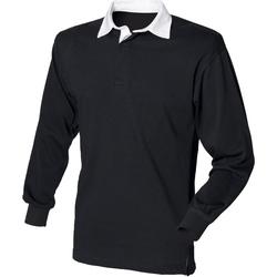 Abbigliamento Uomo Polo maniche lunghe Front Row FR100 Nero/Bianco