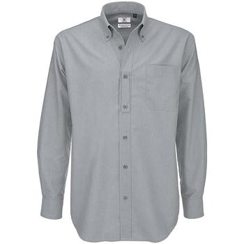 Abbigliamento Uomo Camicie maniche lunghe B And C SMO01 Grigio argento