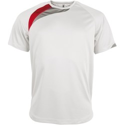 Abbigliamento Uomo T-shirt maniche corte Kariban Proact PA436 Bianco/Rosso/Grigio