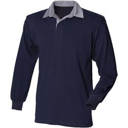 Abbigliamento Uomo Polo maniche lunghe Front Row Rugby Blu navy/Collo grigio