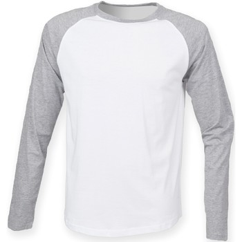 Abbigliamento Uomo T-shirts a maniche lunghe Skinni Fit SF271 Bianco/Erica grigia