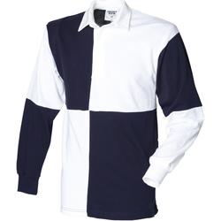 Abbigliamento Uomo Polo maniche lunghe Front Row FR02M Bianco/Blu navy
