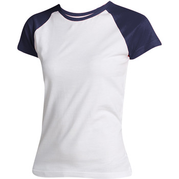 Abbigliamento Donna T-shirt maniche corte Sols Milky Bianco/Blu navy