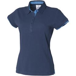 Abbigliamento Donna Polo maniche corte Front Row FR201 Blu/Azzurro