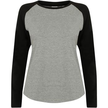 Abbigliamento Donna T-shirts a maniche lunghe Skinni Fit SK271 Grigio screziato/Nero
