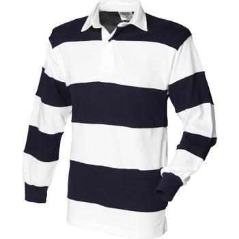 Abbigliamento Uomo Polo maniche lunghe Front Row FR08M Bianco/Blu navy