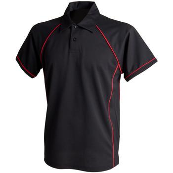 Abbigliamento Uomo Polo maniche corte Finden & Hales Piped Nero/Rosso