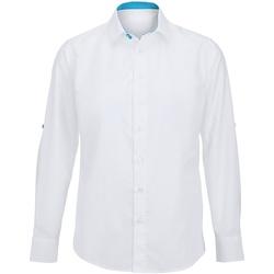 Abbigliamento Uomo Camicie maniche lunghe Alexandra Hospitality Bianco/Blu pavone