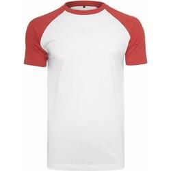 Abbigliamento Uomo T-shirt maniche corte Build Your Brand BY007 Bianco/Rosso