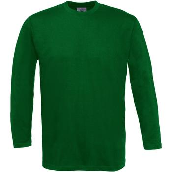 Abbigliamento Uomo T-shirts a maniche lunghe B And C TU003 Verde bottiglia