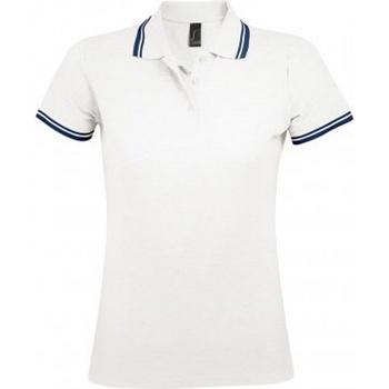 Abbigliamento Donna Polo maniche corte Sols 10578 Bianco/Blu navy