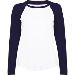 Abbigliamento Donna T-shirts a maniche lunghe Skinni Fit SK271 Bianco/Blu Oxford