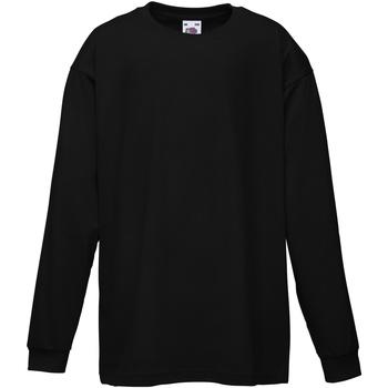 Abbigliamento Unisex bambino T-shirts a maniche lunghe Fruit Of The Loom 61007 Nero