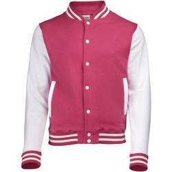 Abbigliamento Uomo Giubbotti Awdis JH043 Rosa acceso/Bianco