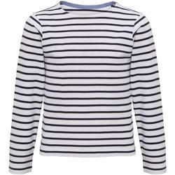 Abbigliamento Unisex bambino T-shirts a maniche lunghe Asquith & Fox AQ074 Bianco/Blu navy