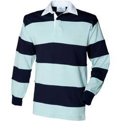 Abbigliamento Uomo Polo maniche lunghe Front Row FR08M Verde acqua/Blu scuro
