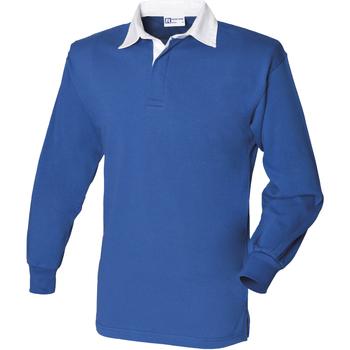 Abbigliamento Uomo Polo maniche lunghe Front Row FR100 Blu reale/Bianco