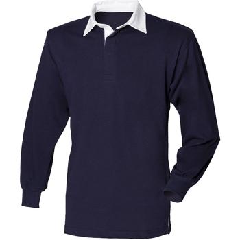 Abbigliamento Uomo Polo maniche lunghe Front Row FR100 Blu navy/Bianco