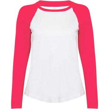 Abbigliamento Donna T-shirts a maniche lunghe Skinni Fit SK271 Bianco/Rosa Acceso