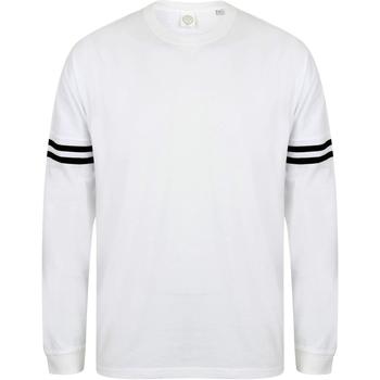Abbigliamento Uomo T-shirts a maniche lunghe Skinni Fit Slogan Bianco/Righe nero