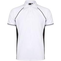 Abbigliamento Uomo Polo maniche corte Finden & Hales Piped Bianco/Nero/Nero