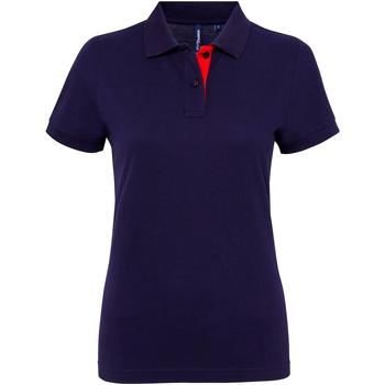 Abbigliamento Donna Polo maniche corte Asquith & Fox Contrast Blu navy/Rosso