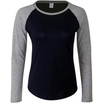 Abbigliamento Donna T-shirts a maniche lunghe Skinni Fit SK271 Blu Oxford/Grigio screziato