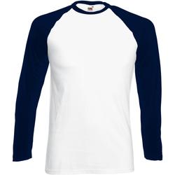 Abbigliamento Uomo T-shirts a maniche lunghe Fruit Of The Loom 61028 Bianco/Navy scuro