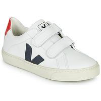 Scarpe Unisex bambino Sneakers basse Veja SMALL-ESPLAR-VELCRO Bianco / Blu / Rosso