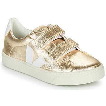 Scarpe Bambina Sneakers basse Veja SMALL-ESPLAR-VELCRO Oro / Bianco