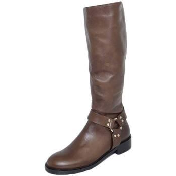 Stivali Malu Shoes  Stivali donna marroni in vera pelle di nappa con zip aderenti c  colore Marrone