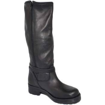 Scarpe Donna Stivali Malu Shoes Stivali donna neri in vera pelle di nappa con zip aderenti con NERO