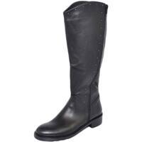 Scarpe Donna Stivali Malu Shoes Stivale alto al ginocchio donna in vera pelle di nappa con zip NERO
