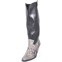 Scarpe Donna Stivali Malu Shoes Stivale donna alto in vera pelle di nappa nera con stampa cocco NERO