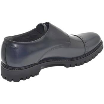 Scarpe Uomo Mocassini Malu Shoes Scarpe uomo doppia fibbia eleganti in vera pelle abrasivata blu BLU
