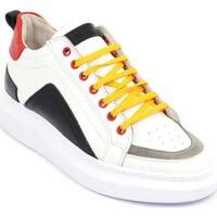 Scarpe Uomo Sneakers basse Malu Shoes Sneakers bassa uomo in vera pelle bianca e cuciture rosso e gri BIANCO