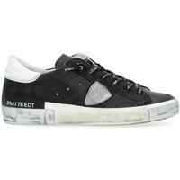 Scarpe Donna Sneakers basse Philippe Model Sneaker Paris X in pelle nera con dettaglio silver Nero