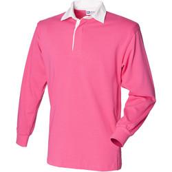 Abbigliamento Unisex bambino Polo maniche lunghe Front Row FR109 Rosa acceso